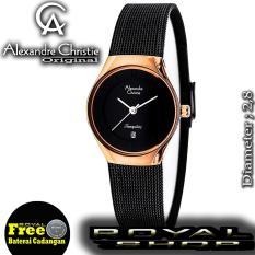 Alexandre Christie Woman Tranquility - Jam Tangan Wanita -Strap Black-Rosegold - AC8331LRS
