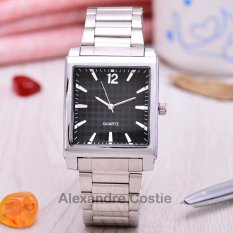 Alexandre Costie - Jam Tangan Pria - Body Silver - Black Dial - Black Dial - Stainless Steel Band - AC-RT-S-2341- Hitam