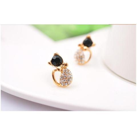 Amefurashi Anting Korea Kawai Kucing Cat Rhinestone Stud Earring Beauty .