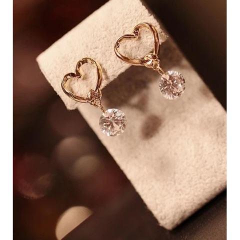 Harga Jual Amefurashi Anting Korea Love Kristal Stud Earring Beauty Harga Rp 11.000
