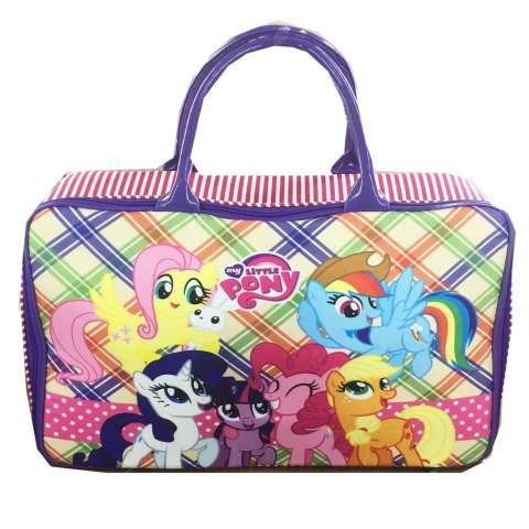BGC Travel Bag Kanvas My Little Pony Pinkie PieKotak Kotak - Purple Rainbow