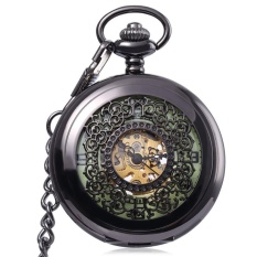 Antique Mechanical Hand Wind Pocket Watch Floral Pattern LuminousDial Hollow-out Cover Wristwatch - intl