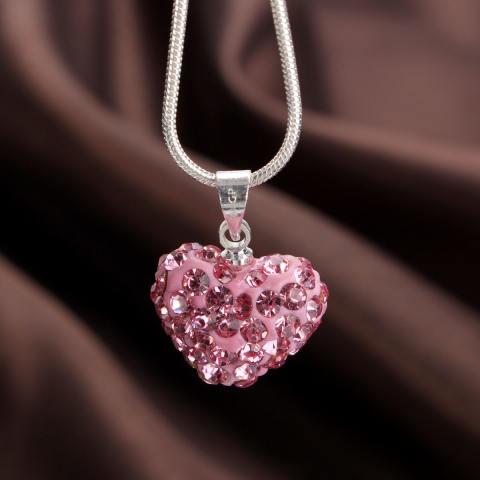 Autoleader Fashion Kristal Hati 925 Perak Berkilau Ular Rantai Liontin Kalung Perhiasan