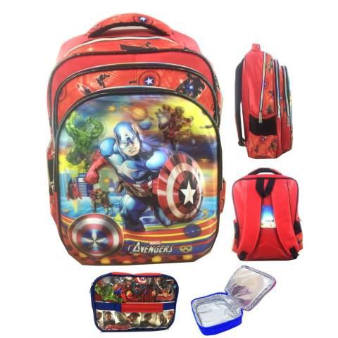 BGC 5 Dimensi Gambar Rubah Rubah Avenger Captain America Iron Man Hulk IMPORT Tas Ransel Anak
