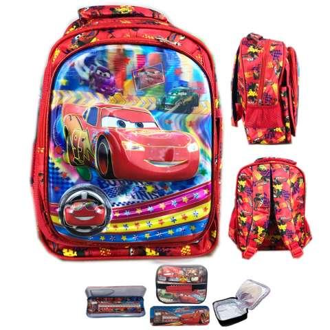 BGC Tas Ransel Sekolah Anak TK Cars Lighning McQueen 3 Kantung + Lunch Bag Aluminium Tahan