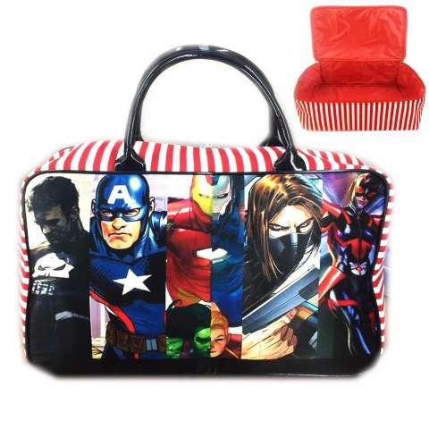 Jual Bgc Travel Bag Kanvas Avenger Cartoon Iron Man Vs Patriot Black Red Harga Rp 68.500