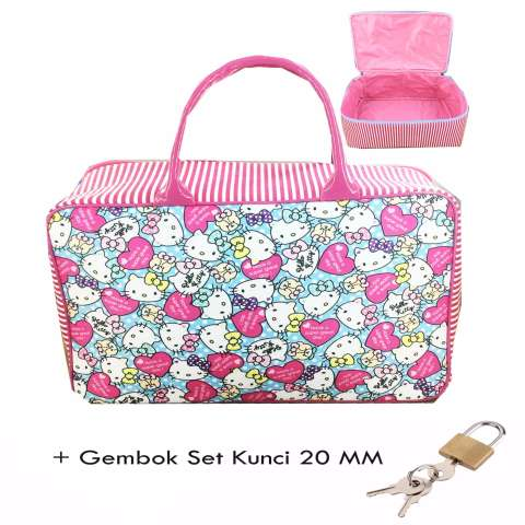 ... BGC Travel Bag Kanvas Hello Kitty Full Motif Kitty Gembok Set Kunci 20mm