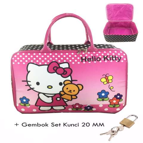 BGC Travel Bag Kanvas Hello Kitty Pita Flower+ Gembok Set Kunci 20mm