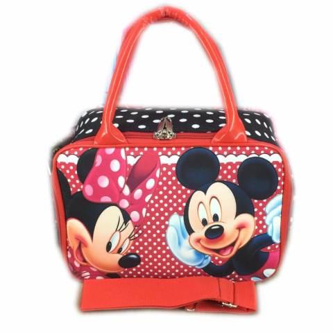 BGC Travel Bag Kanvas Mini + Selempang Mickey Minnie Mouse Polkadot - Red White