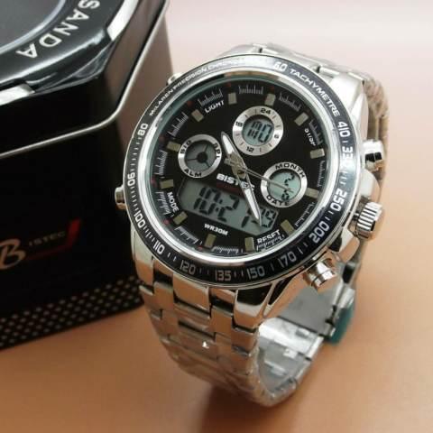 ... Bistec Original Dual Time BS0272 Jam Tangan Sporty Pria Terbaru Stainless Steel