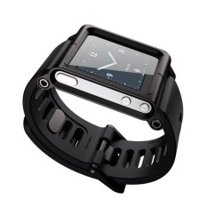 Hitam Aluminium Silicone Mix Multi-Touch Watch Band untuk IPod Nano 6/6th-Intl