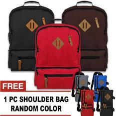 BUNDLE - 1 Swedia Laptop Backpack Up To 13 Inchi + FREE 1 Titan Shoulder Bag Random  / Tas Ransel / Tas Laptop / Tas Pria / Tas Wanita / Tas Sekolah / Tas Punggung