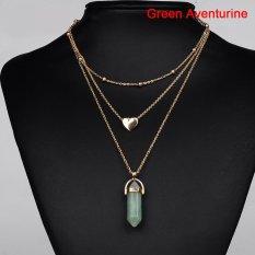 BUY IN COINS Wanita Kristal Opal Batu Alam Heart Pendant Kalung Berlapis 3 Layer Chain Choker