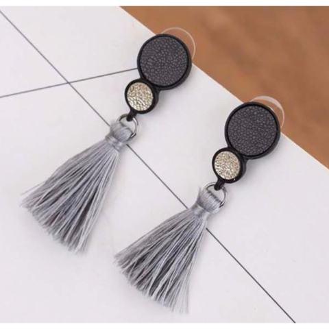 Cannies Anting Korea Drop Leather Round Long Tassel Earrings - APR005