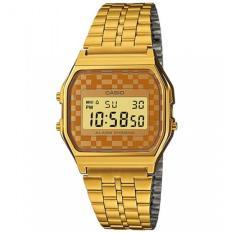 Casio #A159WGEA-9A Vintage Gold Tone Chrongoraph Alarm LCD Digital Watch Jam Tangan Pria/Wanita - intl