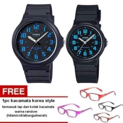 Casio Couple Watch Jam Tangan Couple - Hitam - Strap Karet - Sporty Couple+  Free 1pc 8f1d4e97ed