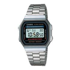 Casio Digital a-168wa - Jam Tangan wanita - Grey - Strap Stainless Steel - LM