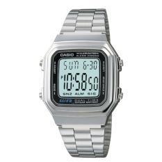 Casio Digital Jam Tangan Wanita Original Terbaru  - Silver - Strap Rantai - A178WA-1ADF