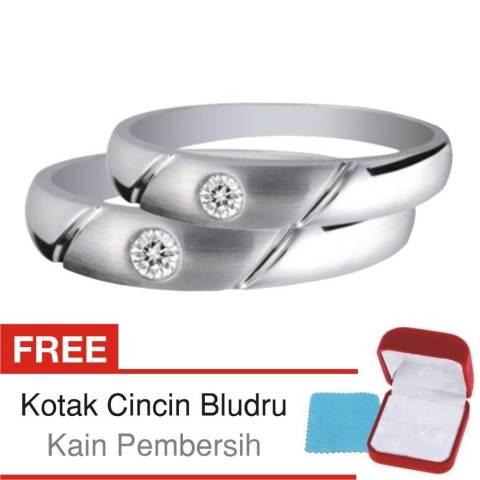 Cincin Tunangan Couple Perak Lapis Rhodium Doff A 12 Silver Exclusive