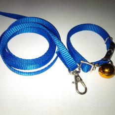 Collar/Kalung uk S + Leash Biru Tua untuk Kucing, Kelinci, Musang, Puppy Small breed