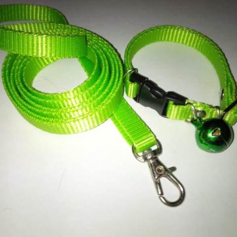Collar/Kalung uk S + Leash Hijau Pupus untuk Kucing, Kelinci, Musang,
