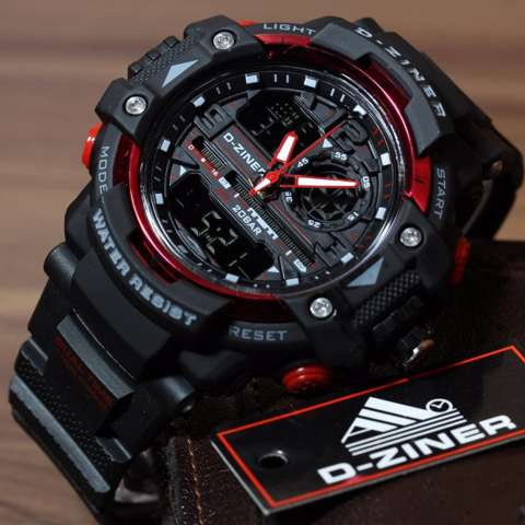 D-ziner Jam Tangan Sport Fashion Dual Time - Black Red