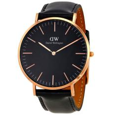 Daniel Wellington DW00100127 Jam Tangan Classic Black Sheffield Horloge 40MM Men Leather Watch - Black Gold