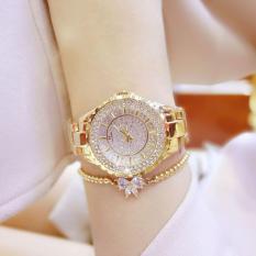 Diamonds Fashion Casual Women Quartz Watch Luxury Gold Stainless Steel Brand Rhinestone Dress Lady Watch (Gold)