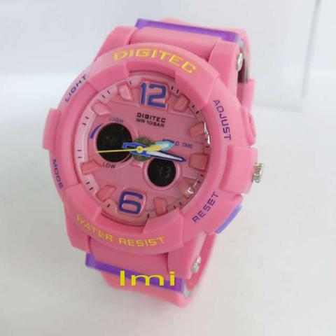 Digitec Dual Time -DG X-3211PG - Jam Tangan Sport Wanita - Rubber -