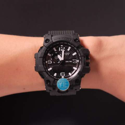 Digitec Jam Tangan Sport Pria DG 2093 T Dual Time Original Anti Air - Full Hitam