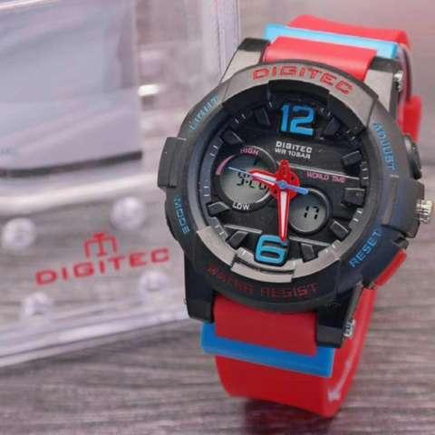 Digitec Jam Tangan Wanita Original - Water Resistant - Rubber Strap - DG2005L Merah Hitam