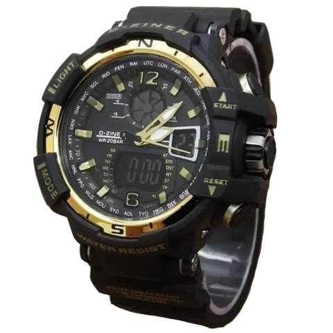 Jual Beli Dziner Dual Time Jam Tangan Sport Pria Rubber Strap Dz 8068art Black Gold Harga Rp 160.000