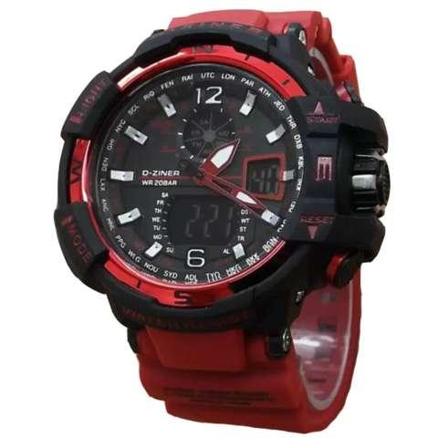 Dziner Dual Time - Jam Tangan Sport Pria - Rubber Strap - DZ-9068art Red