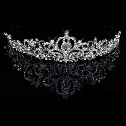 Mewah Elegan Diamante Berlian Imitasi Crown Partai Pernikahan Kado Pengantin Baru (Perak) 2