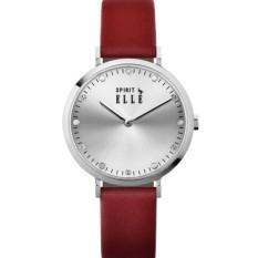 ELLE ES20109S01X - SPIRIT - Analog - Jam Tangan Wanita - Bahan Tali Leather - Merah - Dial Silver