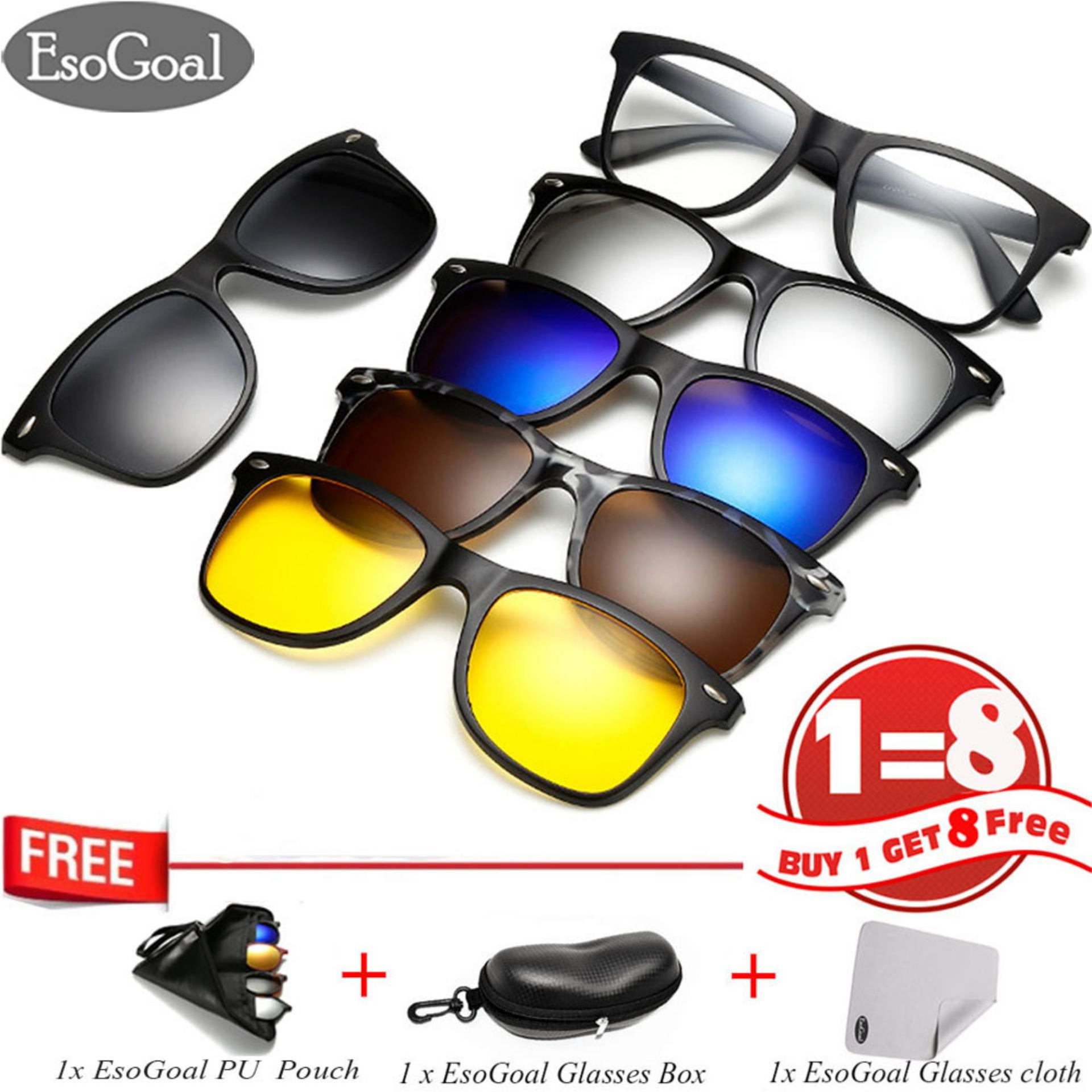 EsoGoal Kacamata Hitam Magnetik Dengan Klip On Lensa Polarisasi Gaya Frame  Retro Untuk Pria dan Wanita 9ae0654673