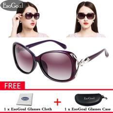 EsoGoal Kacamata Hitam Wanita Lensa Lebar Terpolarisasi 100% Perlindungan UV Gratis Kotak Penyimpanan