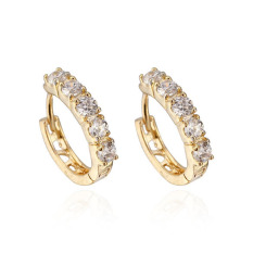 Fashion Elegant Cute Putih CZ Crystal 18 K Berlapis Emas Anting-Anting Hoop