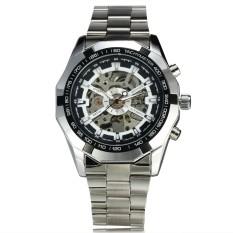 FORSINING PEMENANG 188 Automatic Pria Otomatis Watch Stainless Steel Strap Skeleton Fashion Desain Keren Hitam Klasik Pria Jam Tangan-Intl