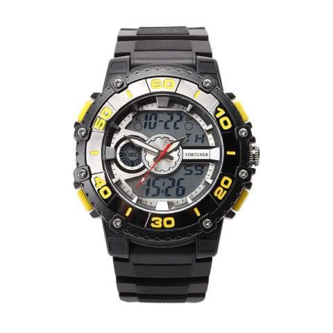 Fortuner Dual Time - Jam Tangan Pria - Rubber strap - FR 07 BSDR