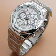 Fortuner – Jam Tangan Pria – Crhono – Stainless steel Strap – Silver Withe – FR