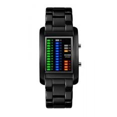 FunkyTop Mens Binary Matrix LED Digital Jam Tangan Klasik Kreatif Hitam Disepuh Tahan Air Wrist James-Intl