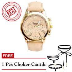 Geneva Free Choker Cantik - Jam Tangan Wanita - Beige - Strap Kulit - TPT4122705CREAM1 FREE CHOKER