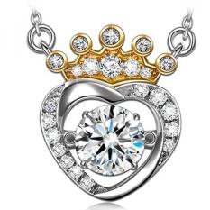 GPL/Dancing Heart Putri Diana 925 Sterling Silver CZ Pendant Kalung Swarovski Diamond Gemstone Anniversary Wisuda Bday Pernikahan Bridal Shower Fine Jewelry Hadiah untuk dari Wanita Her Istri Ibu/kapal dari AMERIKA SERIKAT-Intl