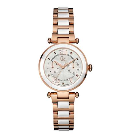 GUESS COLLECTION Gc LADYCHIC Y06004L1 Jam Tangan Wanita Stainless Rose Gold  White . 81dc91448a