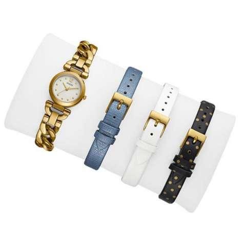 GUESS W0712L2 - Jam Tangan Wanita - Stainless - Leather - Gold - Blue - White
