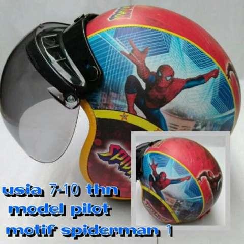 Helm Anak lucu usia 7 sampai 10 tahun Motif Pilot Spiderman
