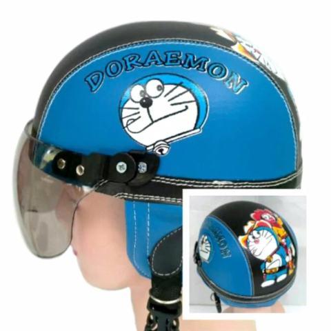 Helm anak Retro Lucu motif Doraemon 1-5 thn - Biru/Hitam
