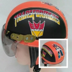 Helm anak Retro Lucu motif Robot 1-5 thn - Hitam/Merah