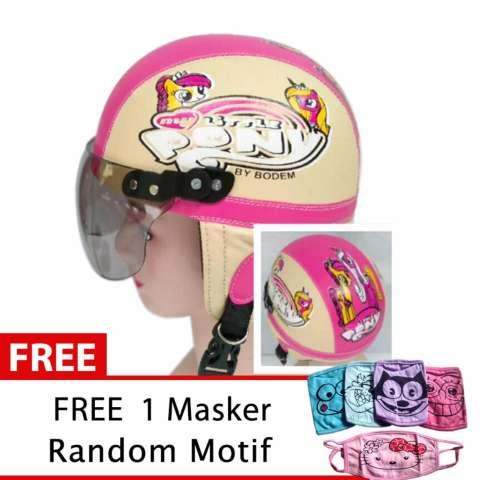 Helm Anak Retro Usia 1- 4 Tahun Motif Litlle Pony Pink/Cream + Free